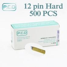 Groothandel 500 pcs microblading naald 12 pin pcd Lamina Tebori 12 Harde Flex Microblading 12 Prong flat permanente make up benodigdheden