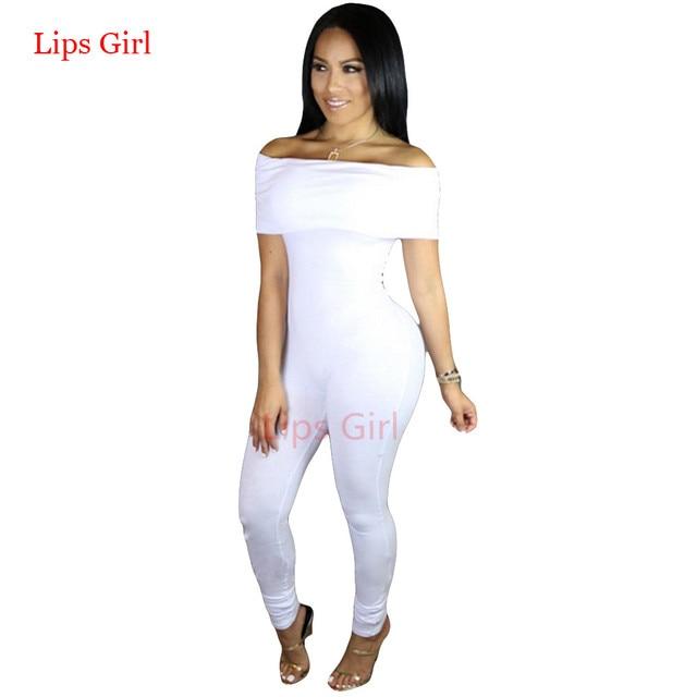 Blanco Elegantes Trajes de Mono Para Las Mujeres Nuevo 2016 Verano Atractivo Del Club Bodycon Slash Cuello Negro Mamelucos Womens Jumpsuit
