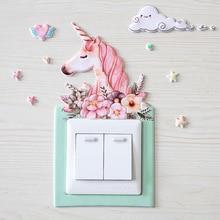 86mm*86mm Self-Adhesive PU Stereo Night-Light Cartoon Noctilucent Decorative Unicorn Protective Switch Sticker Cute