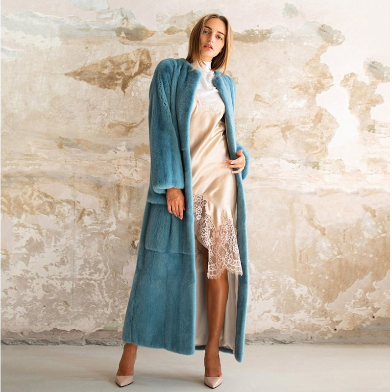 TOPFUR 2019 Fashion Bule Coat Long Winter Real Fur Coat Women Natural Mink Fur Coat With Belt Femme Casual Clothing X-Long Solid