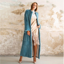 TOPFUR 2019 Fashion Bule Coat Long Winter Real Fur Women Natural Mink With Belt Femme Casual Clothing X-Long Solid