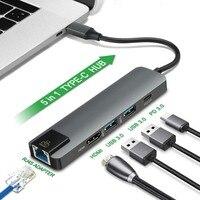 New 5 in 1 USB Type C Hub Hdmi 4K USB C Hub to Gigabit Ethernet Rj45 Lan Adapter for Mac book Pro Thunderbolt 3.0 USB C Charger