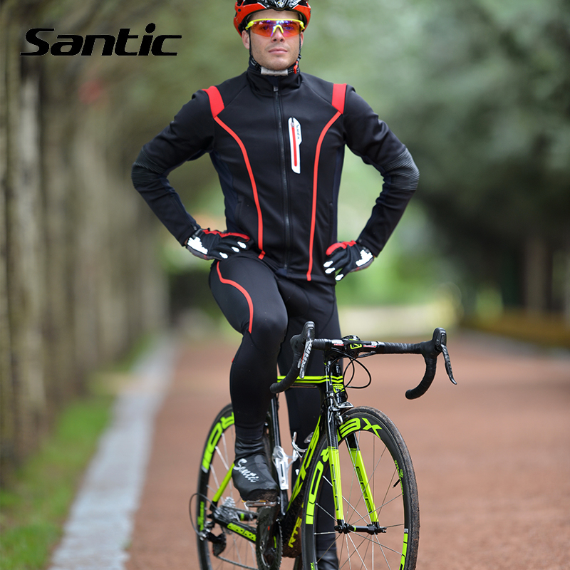 Santic Winter Cycling Set Windproof Warm Thermal Fleece Cycling Jersey Kit + 4D Pad Long Pants Bike Clothes Ropa Ciclismo Hombre santic cycling ropa ciclismo outdoor warm full length tight pants trousers mtb bike bicycle winter autumn windproof 3d pad pants