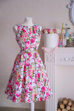 summer print floral 1950s style elegant party dress