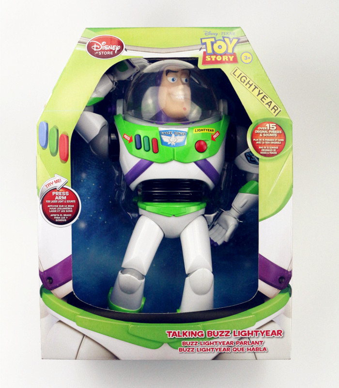 Color BOX original Toy Story 3 Buzz Lightyear Toys Talking Buzz Lightyear PVC Action Figure model Collectible Toy 30CM kids gift original toy story 3 buzz lightyear robot light voice elastic wings 30cm action music anime figure kids toys for children p2