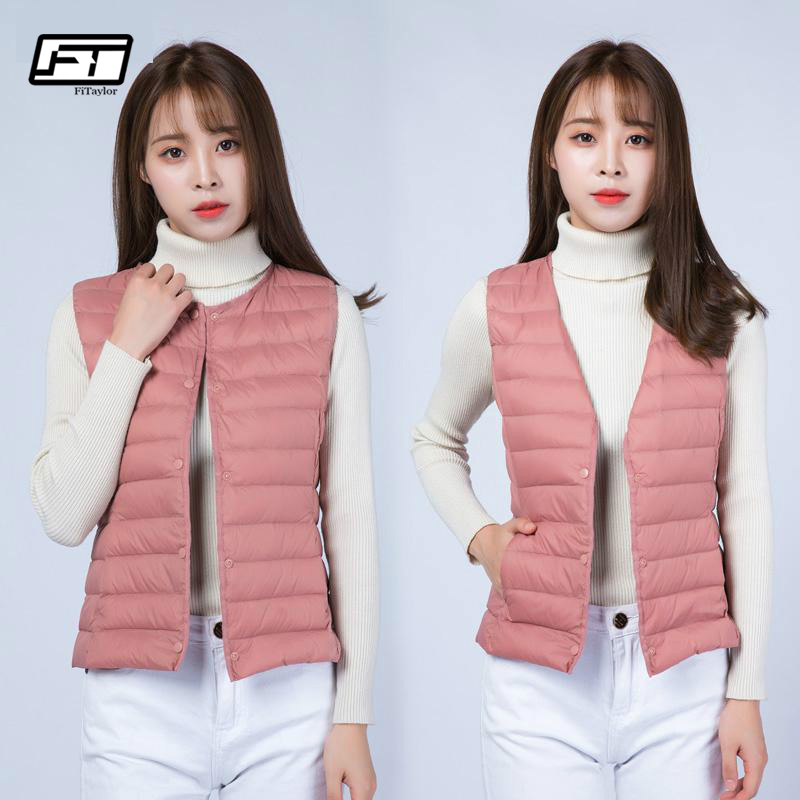 Fitaylor New Autumn Winter Ultra Light Vests   Down   Jacket   Coat   Women Sleeveless Slim Short Single Breasted Waistcoat