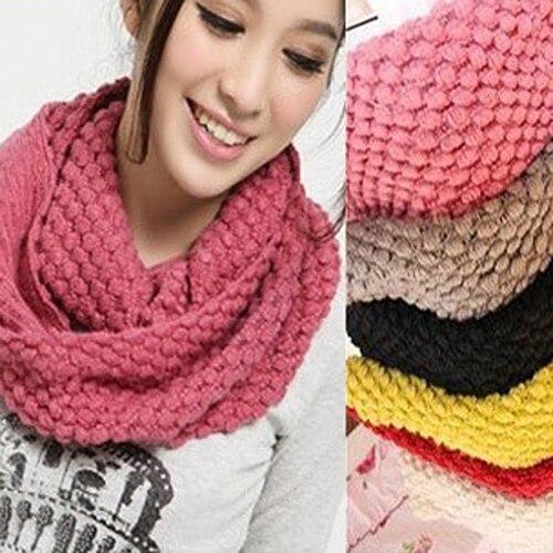 Fashion Womens 2 Circle Winter Warm Knitted Cowl Neck Scarf Shawl Gift knitting