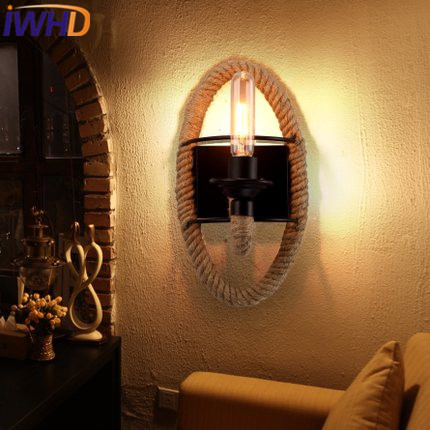 IWHD Industrial Vintage Sconce Wall Light Fixtures Style Loft  Iron Wall Lamp Black Hemp Rope Stairway Lighting Bedroom Arandela vintage loft personality rope wall sconce light hand knitted hemp rope wall lamp retro aisle wall sconce wall industrial light