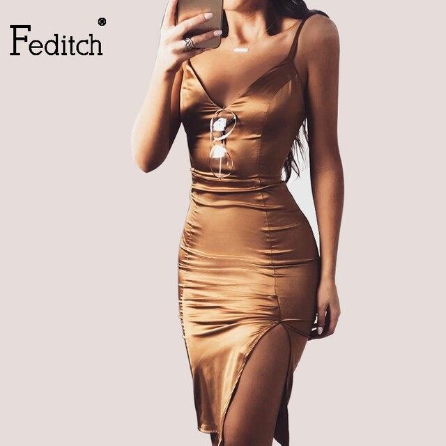 Feditch New Club Sexy Bodycon Sleeveless Dress Summer Backless Spaghetti  Strap V Neck Side Split Simple 2d526474fb4d