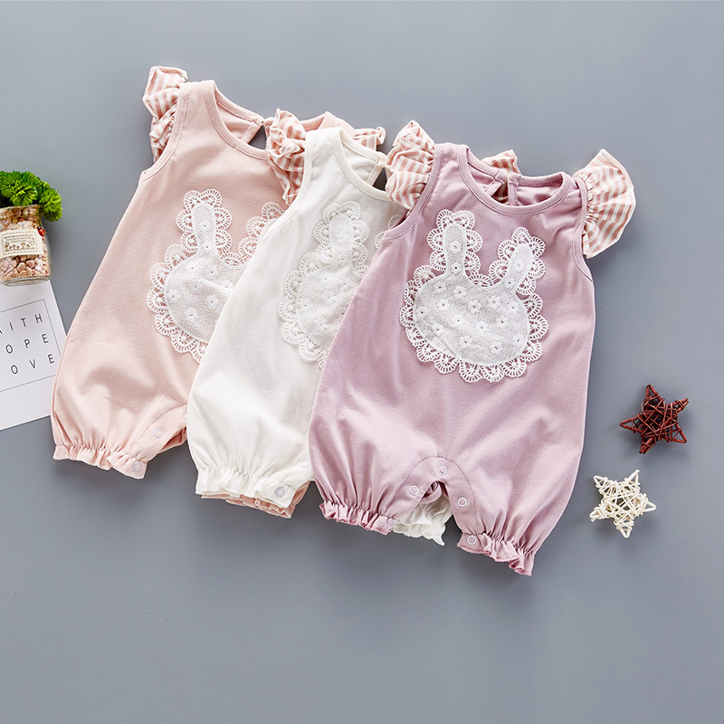 Summer cute Style Baby Girls Romper Cotton Lace Vintage Short Sleeves Romper Kids Jumpsuit Girls clothes cartoon rabbit striped 2pcs set newborn floral baby girl clothes 2017 summer sleeveless cotton ruffles romper baby bodysuit headband outfits sunsuit