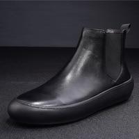 2018 осень зима Для мужчин Челси черные кожаные короткие мужские ботинки Мужская обувь Hiver обувь Высококачественные ботильоны Для мужчин