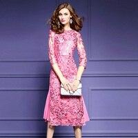 Kobiet Elegancki Mesh Szydełka Haft Party Dress Specjalne Okazje Druhna panny Młodej Matki Sheer Rękawem Tunika Vestidos