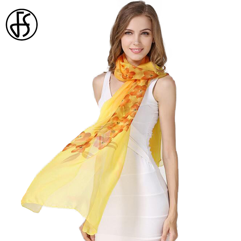 FS Chinese 100 Silk   Scarves   Brand Pashminas Floral Hand Painted For Ladies Woman Hijabs High Grade Scarfs   Wrap   Shawls