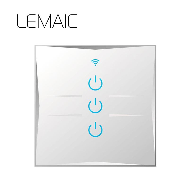 LEMAIC 3 Way 3 Gang Wifi LED Light Wall Smart Home Remote Control Switches Luxury Glass Panel Via Itead Sonoff Touch Switch itead sonoff wifi remote control smart light switch smart home automation intelligent wifi center smart home controls 10a 2200w