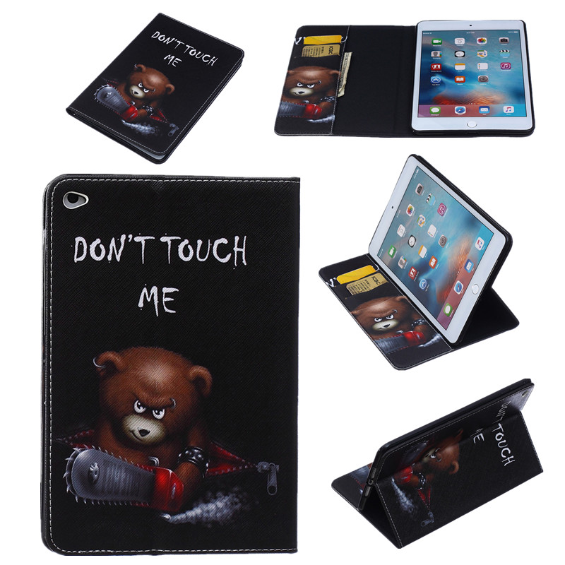 2018 PU Leather Flip Case For Apple iPad Mini 4 Case Stand Cover Case With Card Holder Flowers Print Cover Protector