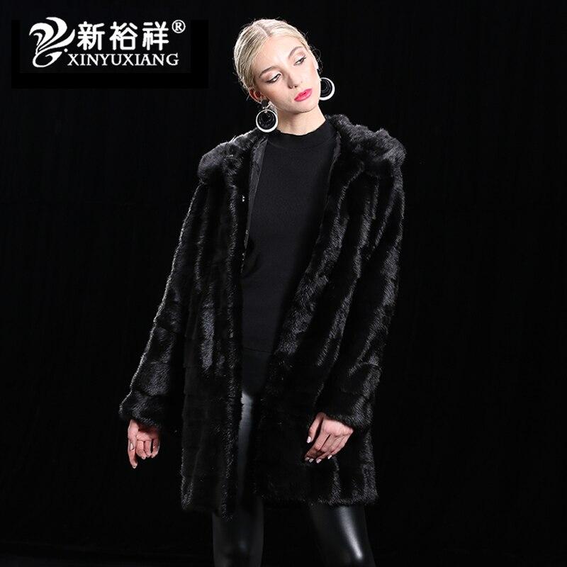 Hiver Femmes de Long Réel Vison Veste Véritable Manteaux de fourrure Capot Personnalisable Femelle Automne Outwear Chaud Épais De Fourrure Naturelle Vêtements