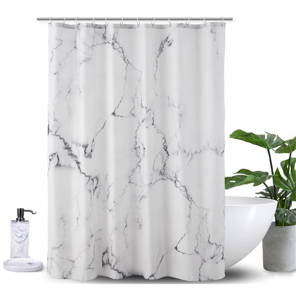 White Grey Bathroom Curtains: Marble Printed 3D Shower Curtain Waterproof Polyester Bath