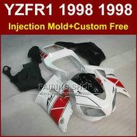 Propre blanc noir carénages kit pour YAMAHA YZF R1 YZF1000 98 99 pièces de carénage R1 1998 1999 YZF R1 carrosseries + 7 Cadeaux