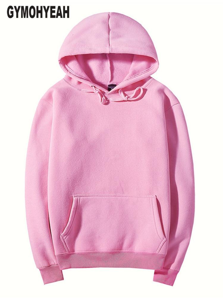 GYMOHYEAH rosa de alta calidad otoño invierno moda hombres sudaderas con capucha de algodón espesar polar para hombre pullover chándal para hombre sudadera