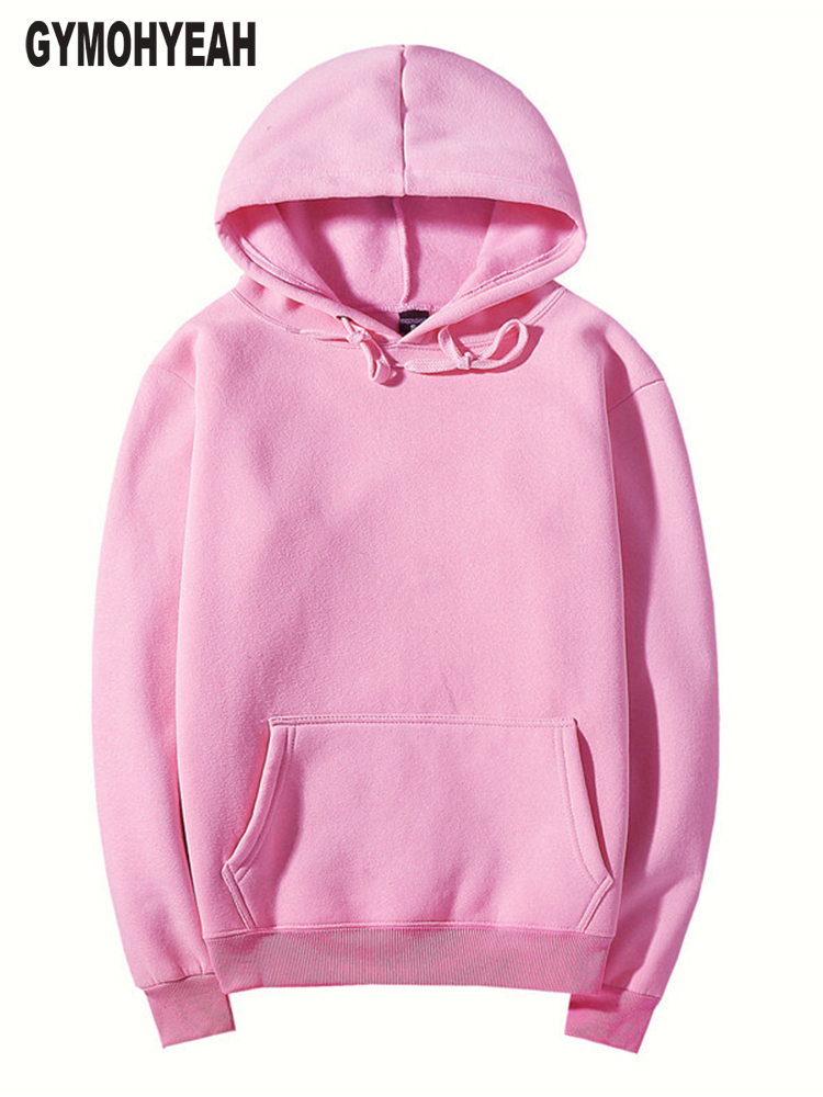 GYMOHYEAH Pink High Quality Autumn Winter Fashion Men Hoodies Cotton Thicken Fleece Mens Pullover Tracksuit Mens Sweatshirt