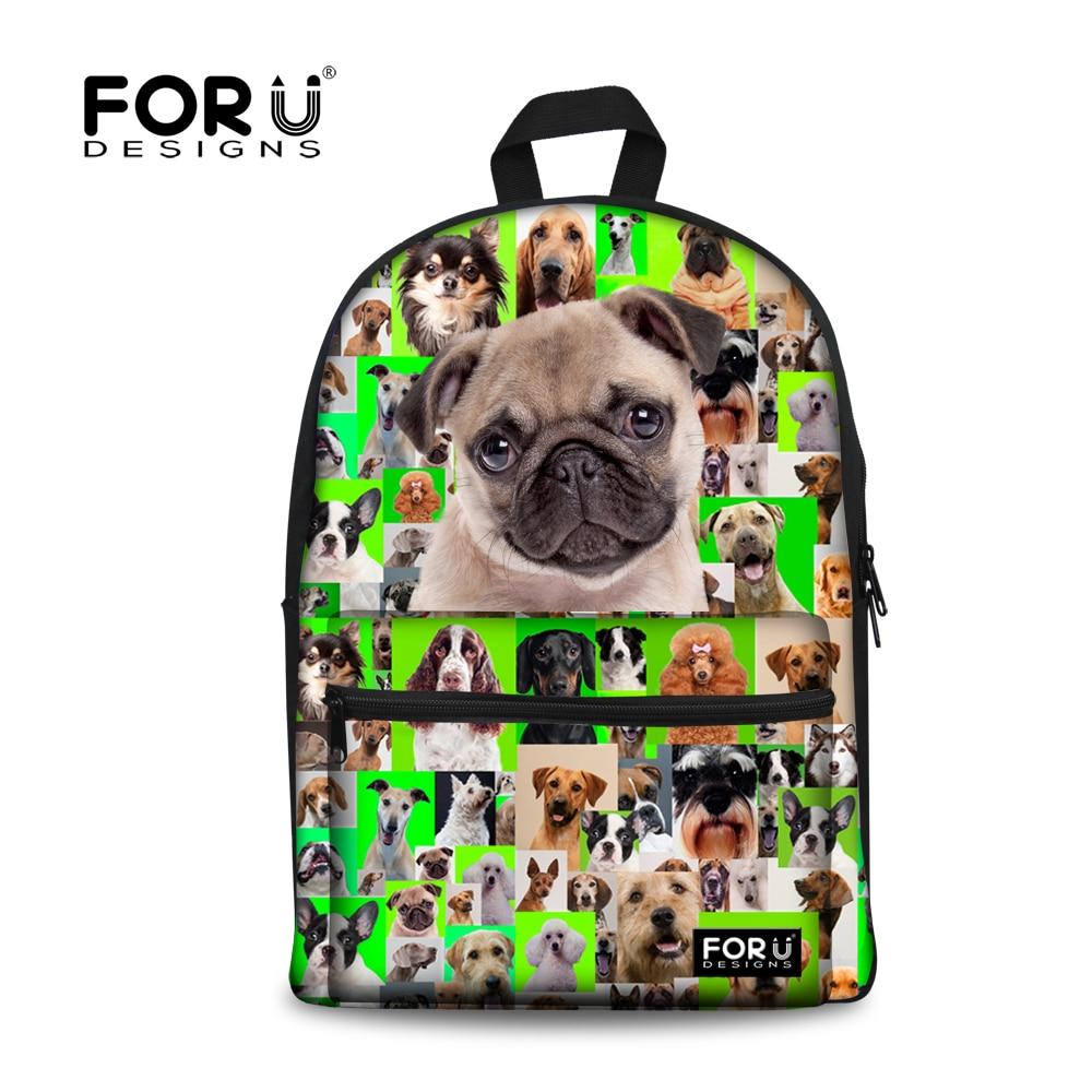цена на FORUDESIGNS 3D Animal Printing Backpacks for Teenager Boys Girls Pug Dog Poodle Children School Backpack Mochila Escolar Bags
