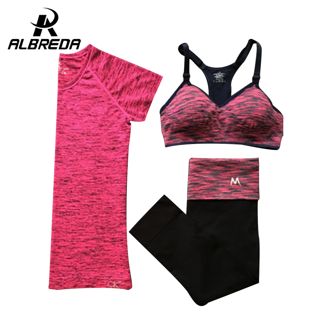 Prix pour Albreda femmes yoga sport costume d'été soutien-gorge ensemble 3 pièce femelle à manches courtes pantalon en plein air rapide séchage de sport de course vêtements