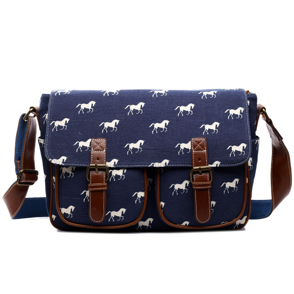 Miss Lulu Messenger Bags School For Age S Boys Horse Canvas Large Cross Body Shoulder Satchel A4 Book Bag Yd1157 In Crossbody From