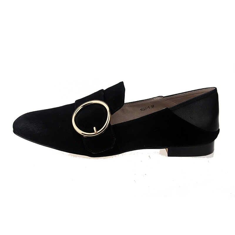 2018 zapatos de VALLU zapatos de mujer zapatos cuadrados de gamuza Natural zapatos negros de mujer