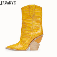 Candy color Snake skin botas mujer Western Boots Cowboy Boots for women runway design Chunky Wedges heel Mid calf Boots