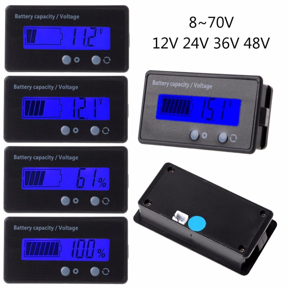 12V 24V 48V 8-70V LCD Lead Acid Lithium Battery Capacity Indicator Voltmeter