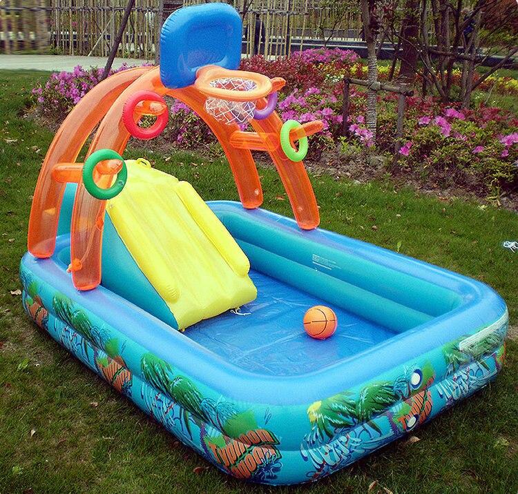 Новое прибытие многофункциональный надувной детский бассейн игра крокодил для бассейн с ход горка Баскетбол