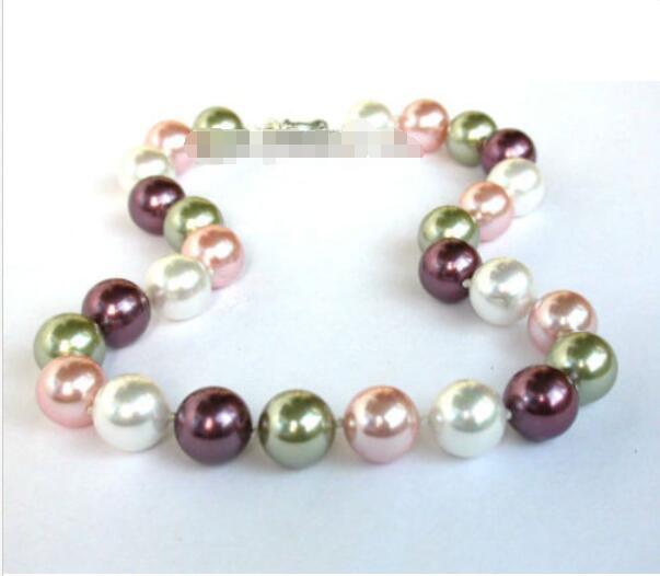 Hot sale new Style >>>>>luster 14mm multi-Color seashell pearls necklace image