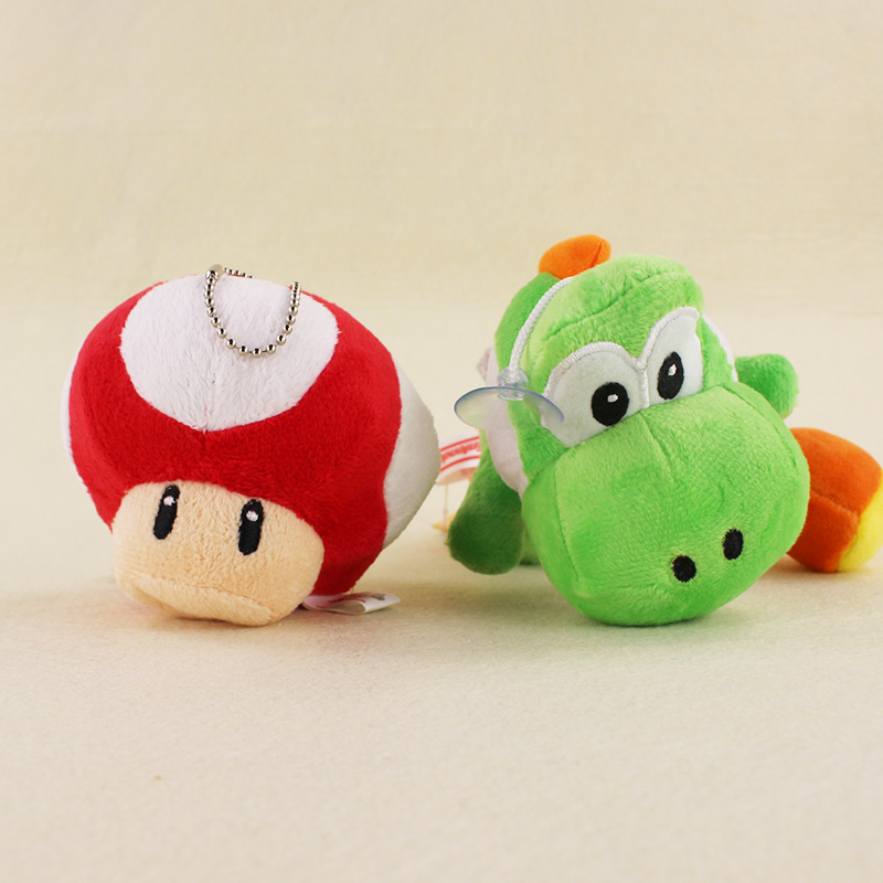Super Mario Yoshi Dragon Red Mushroom Pendant Plush Sucker Doll Yoshi Keychain font b Toys b