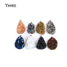 Irregular Natural Raw Mineral Crystal Pendant Druzy Opal Drop Pendants Pendulum Chakra Natural Stone Pendants For Jewelry Making