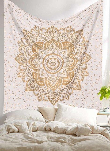 Mandala Wall Tapestry White Fashion Home Decoration Printed Lotus
