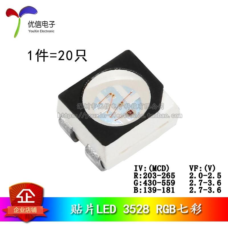 3528/1210 SMD LEDs Seven Colors Highlight LED Lights RGB Colorful (20pcs/lot)