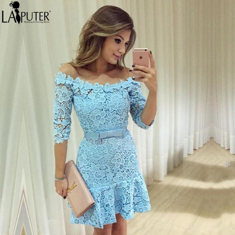 Popular Light Blue Short Sleeve Cocktail Dress-Buy Cheap Light ...