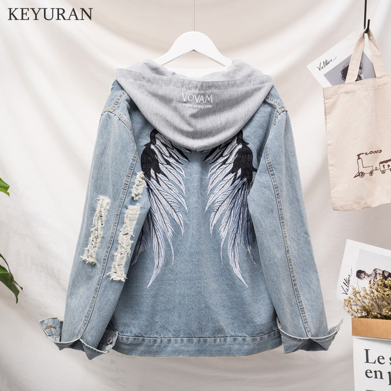 415c8e50a578 TREND Setter 2018 Spring Casual Denim Jacket Hooded Women Wing ...