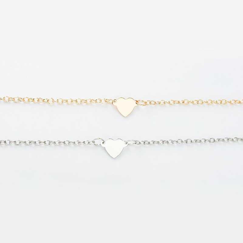 2018 מכירה לוהטת נשים טרנדי תכשיטי זוגי אהבת לב צמיד זהב כסף צבע צמיד מתנה
