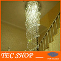 LED Crystal Chandelier Double Spiral Superdense K9 Chandelier Crystal Stair Lamp Hotel Villa Crystal Light Free Ship