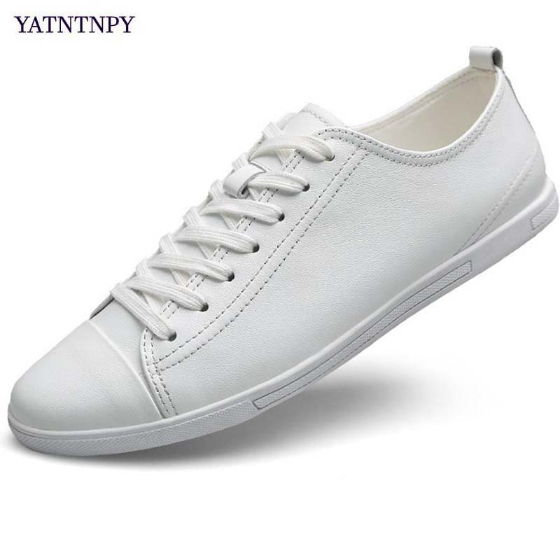 YATNTNPY Brand Men casual Shoes Big Size Soft White Black Sneakers Summer Breathable Flat Man Shoes Genuine Split leather shoes ifrich spring summer men leather fashion shoes black white male flat split leather shoes comfortable man casual footwear