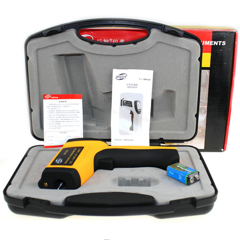 GM1350 (With box) Non-Contact 50:1 LCD display IR Infrared thermometer Gun Thermometer -18~1350C (0~2462F) 0.1~1.00 adjustable  цены