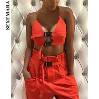 BOOFEENAA Fashion Sexy Two Piece Set Buckle Crop Top and Paperbag High Waist Cargo Pants Streetwear Matching Sets C76 AG35