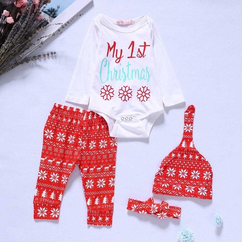 Set Of Christmas Suit Santa Claus Xmas Hat Romper Pants Newborn Baby Boys Girls W30