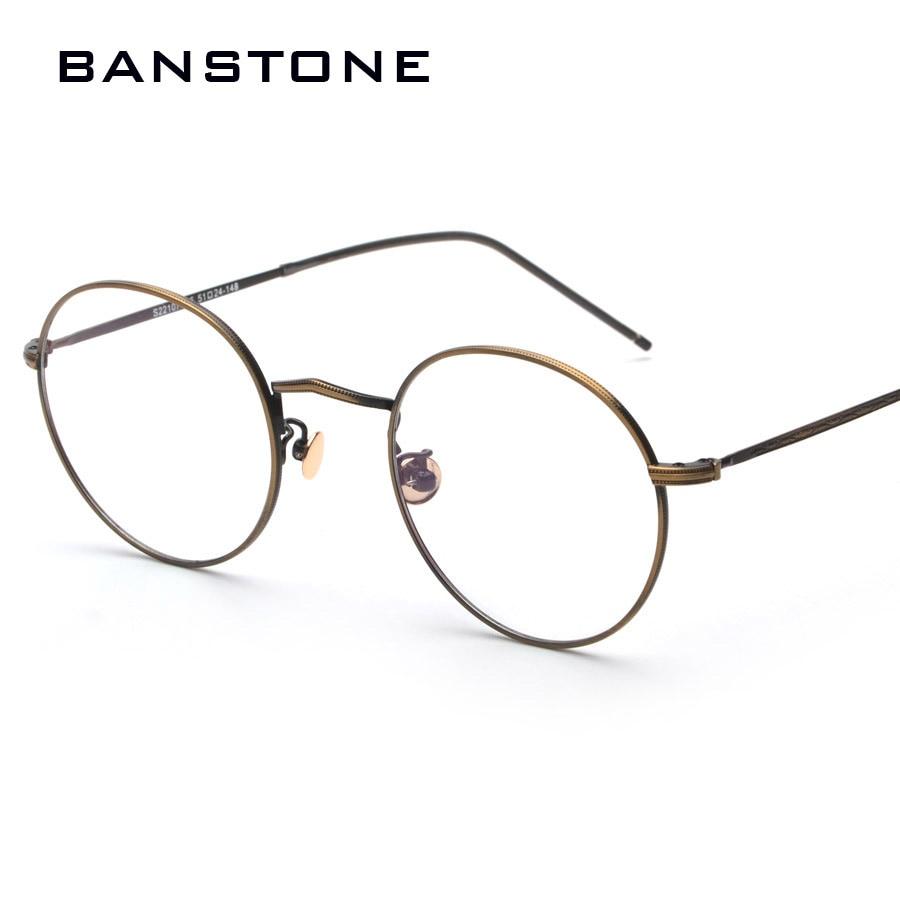 BANSTONE Rodada Óculos Retro Óculos Simples Óculos de Armação Clara Lente  Eyeware Homens Mulheres Optical Miopia oculos de grau de Marca Do Vintage c96d01e541