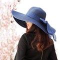 2016 летние бумаги соломенная шляпа Темно-широкими полями бантом пароход дышащий шляпа солнца Женщины пляжный отдых, когда Ян cap