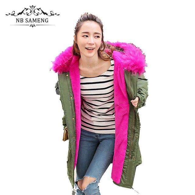 Mulheres Oversize Com Capuz Longo Casaco De Pele do Inverno Plus Size Grosso Capuz Casaco Quente Exército Verde Rosa Preto 13W0227
