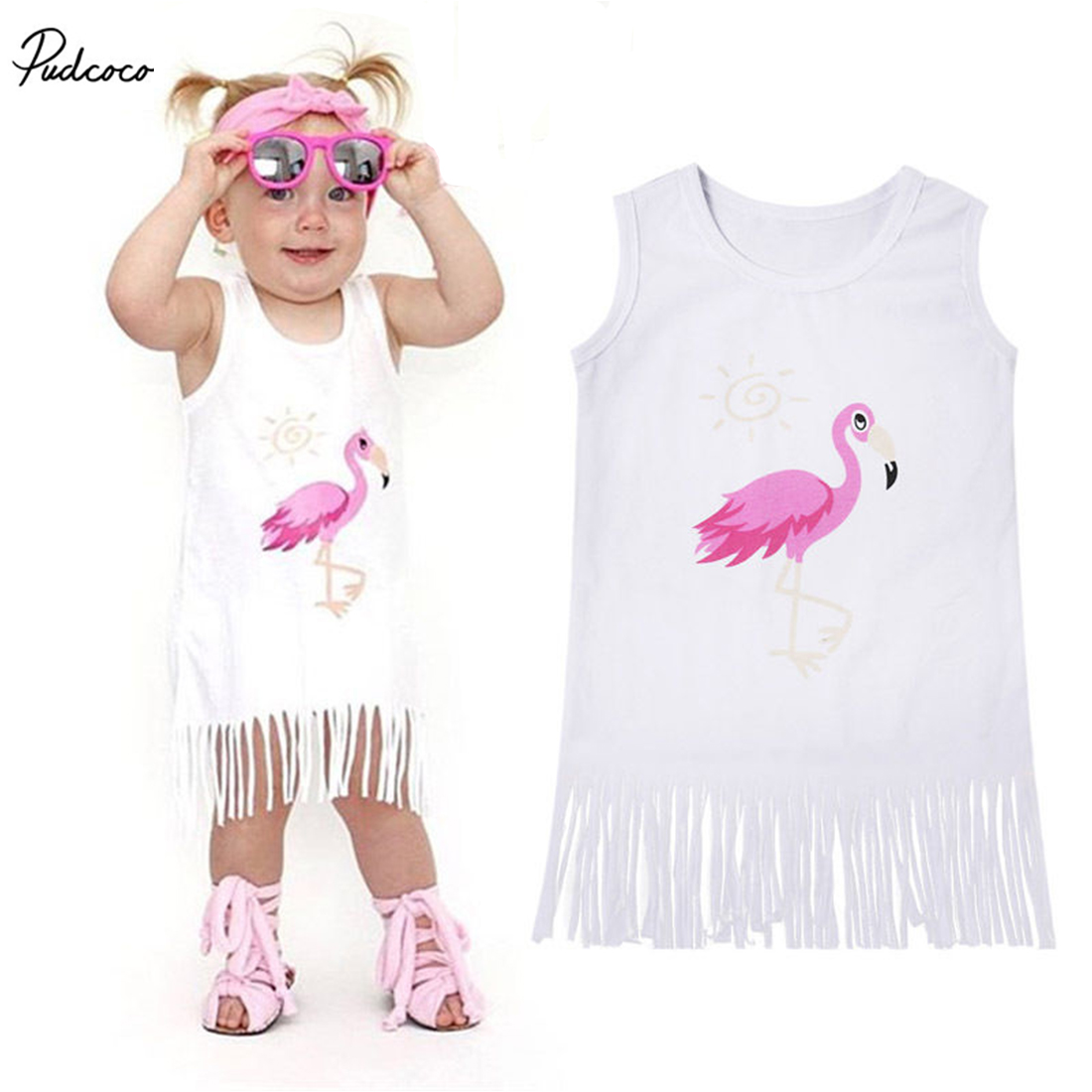 2019 New Cotton Infant Baby Kid Girl Flamingo Fringe Tassel Dress Sleeveless Sundress Casual Summer Party Clothes