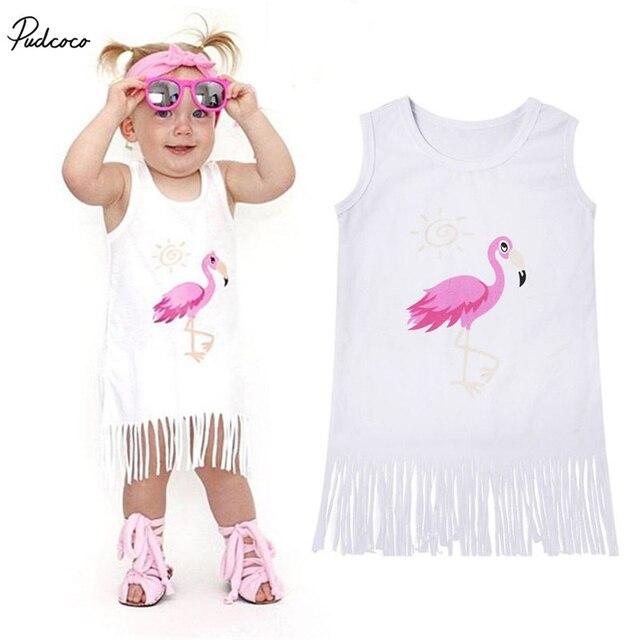 2019 nuevo bebé infantil de algodón chico chica Flamingo borla vestido sin mangas vestido de ropa de verano