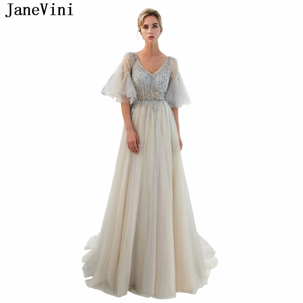 JaneVini Light Gray Long Ladies   Bridesmaid     Dresses   Bling Beaded V Neck Sexy High Split Prom Gowns Tulle   Bridesmaids   Formal   Dress